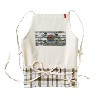South Korean Flag on Rough Wood Boards Effect Zazzle HEART Apron