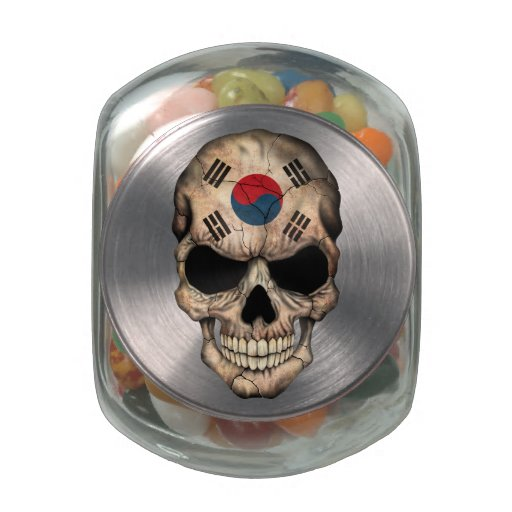 South Korean Flag Skull Jelly Belly Candy Jars