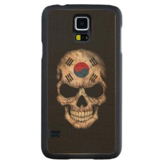 South Korean Flag Skull on Black Carved Maple Galaxy S5 Slim Case