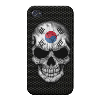 South Korean Flag Skull on Steel Mesh Graphic iPhone 4 Covers