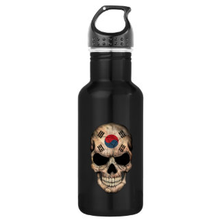 South Korean Flag Skull Water Bottle