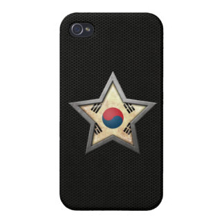 South Korean Flag Star with Steel Mesh Effect iPhone 4 Cover
