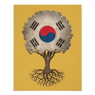 South Korean Flag Tree of Life Customizable Poster