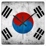 South Korean Flag Vintage Square Wall Clock