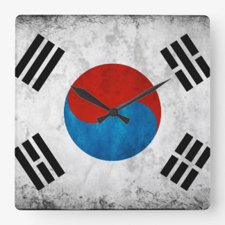 South Korean Flag Vintage Square Wall Clock
