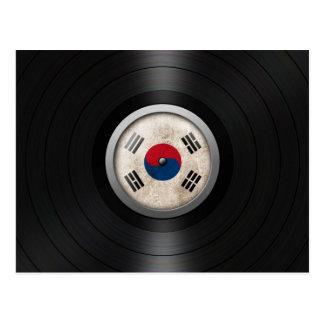 South Korean Flag Vinyl Record Album Graphic Postcard
