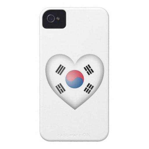 South Korean Heart Flag on White iPhone 4 Case