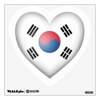 South Korean Heart Flag on White Wall Decal