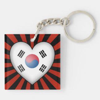 South Korean Heart Flag with Star Burst Keychain