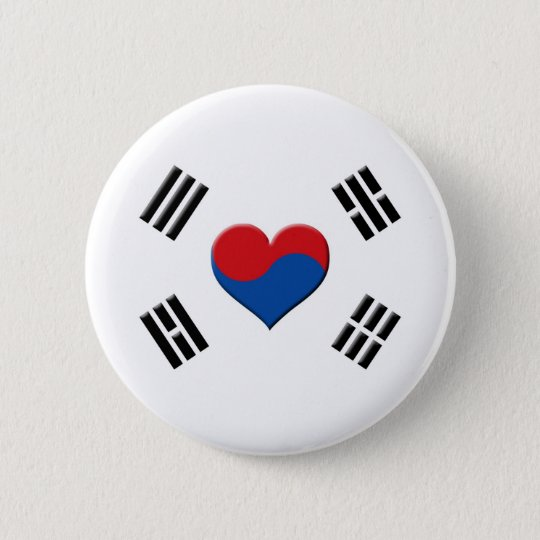 South Korean Heart Pinback Button