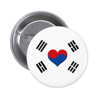 South Korean Heart Pinback Button