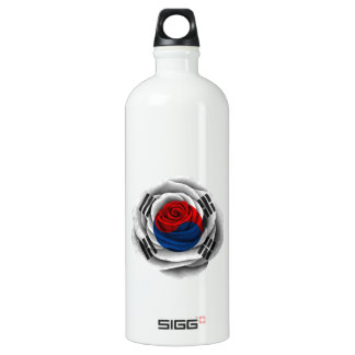 South Korean Rose Flag Aluminum Water Bottle