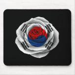 South Korean Rose Flag on Black Mouse Pad