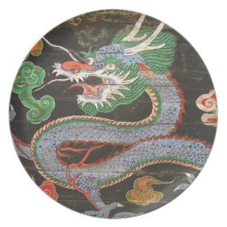South Korean Seoul Namdaemun Asian Dragon Dinner Plates