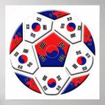 South Korean Soccer Ball flag of Korea Gifts Poster