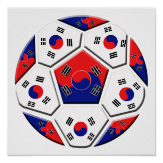 South Korean Soccer Ball flag of Korea Gifts Poster