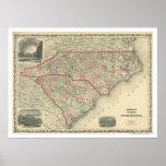 South & North Carolina Map 1861 Poster