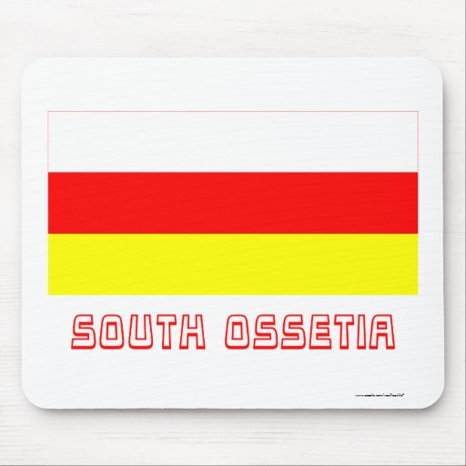South Ossetia Flag with Name Mousepads