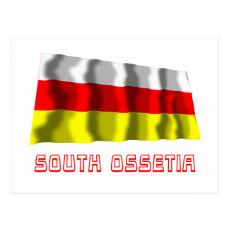 South Ossetia Waving Flag with Name Postcard