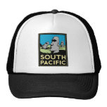 South Pacific Art Deco Travel Poster Trucker Hats
