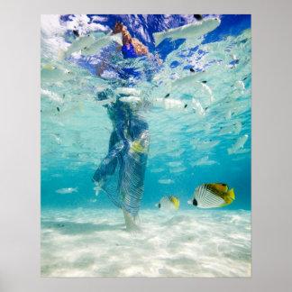 South Pacific Bora Bora el caminar turístico fem Posters