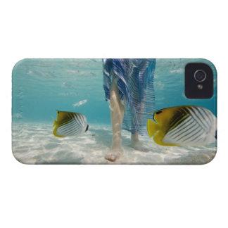 South Pacific, Bora Bora, female tourist walking 2 iPhone 4 Cover