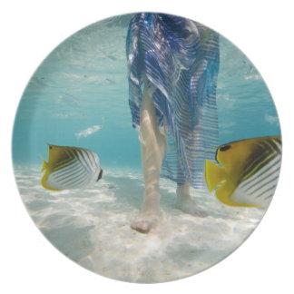 South Pacific, Bora Bora, female tourist walking 2 Party Plate
