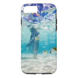 South Pacific, Bora Bora, female tourist walking iPhone 8/7 Case