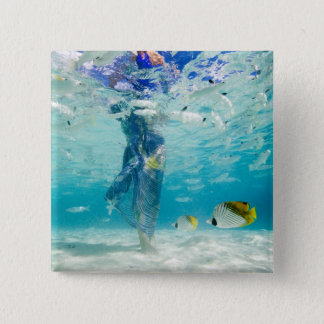 South Pacific, Bora Bora, female tourist walking Pinback Button