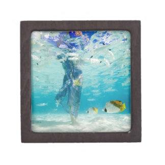 South Pacific, Bora Bora, female tourist walking Premium Keepsake Boxes