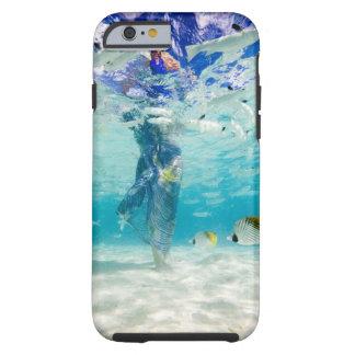 South Pacific, Bora Bora, female tourist walking Tough iPhone 6 Case