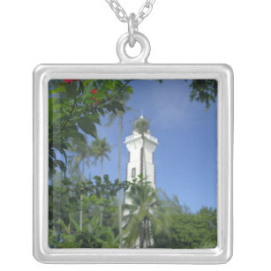 South Pacific, French Polynesia,Tahiti. Hibiscus 2 Silver Plated Necklace