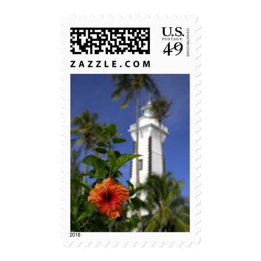 South Pacific, French Polynesia,Tahiti. Hibiscus Postage Stamp