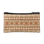 South Pacific Tribal Wood Carved Pattern Fashion Cosmetic Bag
