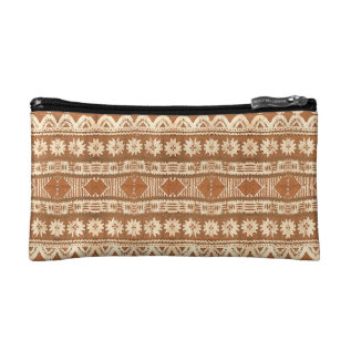 South Pacific Tribal Wood Carved Pattern Fashion Makeup Bag at Zazzle