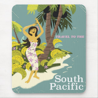 South Pacific vintage travel print Mouse Pad