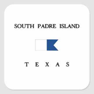 South Padre Island Texas Alpha Dive Flag Square Stickers