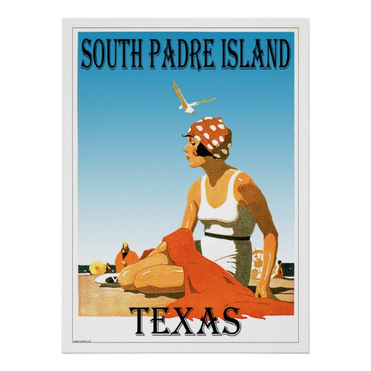 South Padre Island Vintage Beach Poster Design