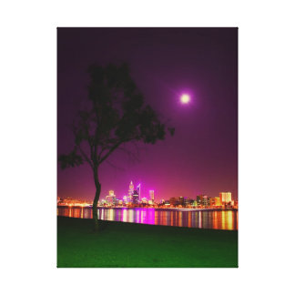 South Perth Foreshore Perth City Lights Skyline Canvas Print