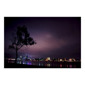 South Perth Foreshore Perth City Lights Skyline Poster