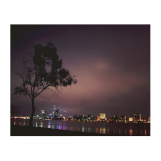South Perth Foreshore Perth City Lights Skyline Wood Print