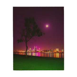 South Perth Foreshore Perth City Lights Skyline Wood Wall Decor
