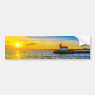 South Pier Lighthouse Dawn Bumper Sticker