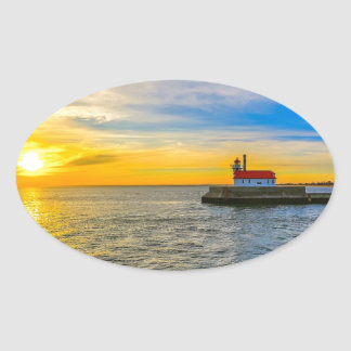 South Pier Lighthouse Dawn Oval Sticker