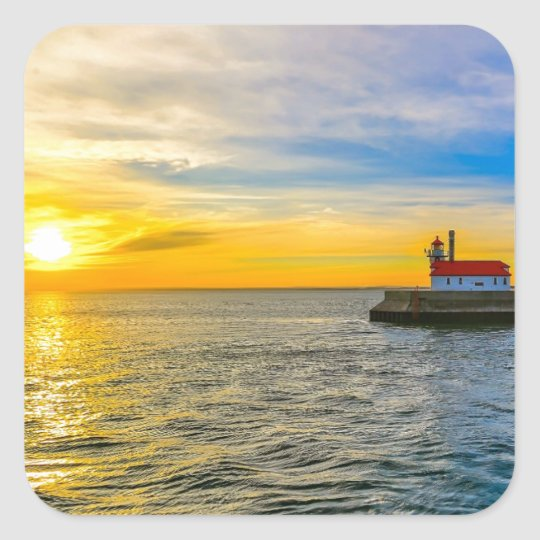 South Pier Lighthouse Dawn Square Sticker