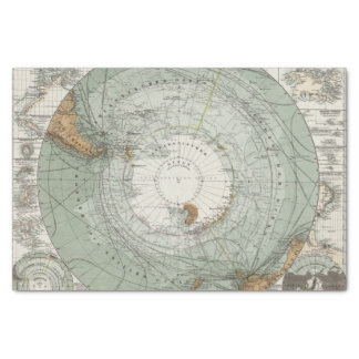 "South Polar Region Map 10"" X 15"" Tissue Paper"
