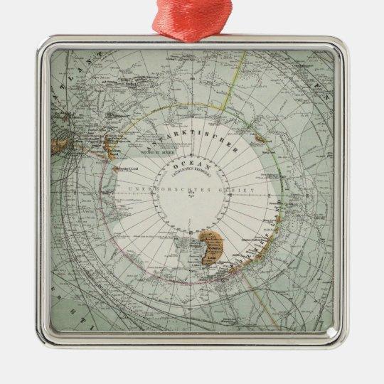 South Polar Region Map Metal Ornament