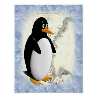 South Pole Penguin Poster