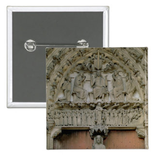 South Portal tympanum depicting Christ Enthroned w 2 Inch Square Button