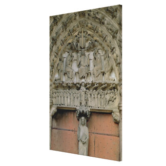 South Portal tympanum depicting Christ Enthroned w Canvas Print